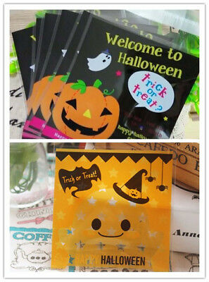 Candy Halloween Pumpkin Gifts Bags Cookies Party Packaging Bags Pop 100 Pcs Gift