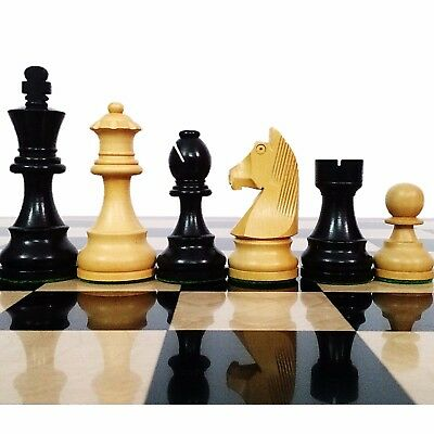 """3.9"""" Tournament Chess Pieces set in Ebonised Weighted wood with Extra Queens"""