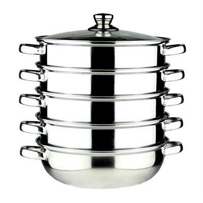 Stainless Steel Cooking Hot Pot Steamer Sauce 28cm 5 Set Multi Layer With Lid