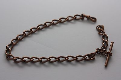 Solid Rose 9ct 48g Gold Antique Watch Chain. Each link is handmade with hallmark