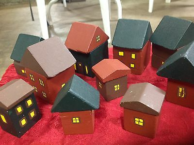 Painted Wood Block Houses For Train Set Scenery Village Handmade Various Sizes