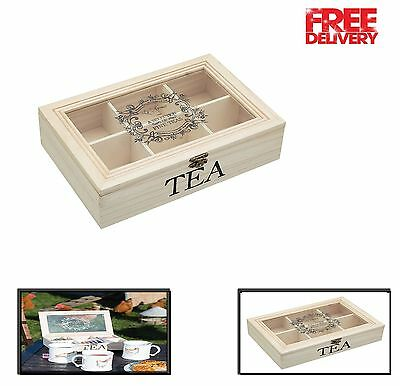 Wooden Tea Chest Le'Xpress Traditional Box With 6 Compartments 26 X 17 X 6 Cm