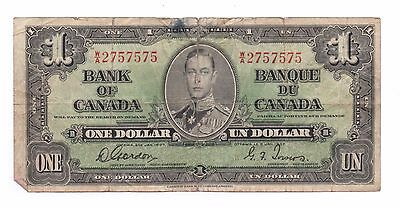 Rare Repeater  1937 Canada One Dollar Serial #2757575