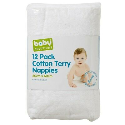 12 Terry Towelling Cotton Baby Nappies Infant Newborn Cloth white Fabric Nappy