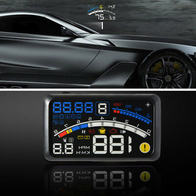 "New 5.5"" Car Windshield HUD OBD2 Head Up Display GPS Over Speed Warning System"