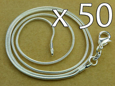 WHOLESALE Lot 50x High Q SILVER SNAKE CHAIN NECKLACE 20inch - 50cm 1.3 mm
