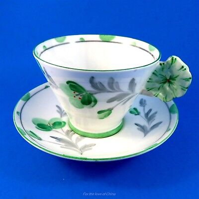 Painted Pansy Flower Handle Royal Paragon Green Florals Tea Cup and Saucer Set
