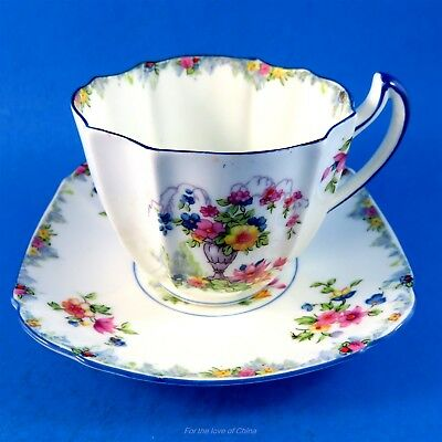 Painted Very Rare Star Mark Paragon Square Floral Urn Tea Cup and Saucer Set
