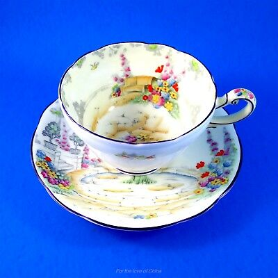 "Painted Very Rare Star Mark Paragon "" Old World Garden ""  Tea Cup and Saucer Set"