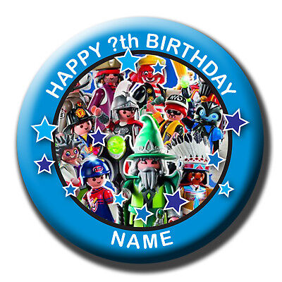 Personalised Playmobil Birthday Badge/magnets/mirrors
