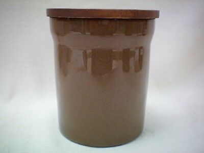 Denby Pampas Storage Coffee Jar Canister Sealed Wooden Lid 15cm Tall Very Good A