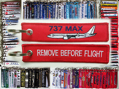 Keyring Boeing 737-MAX RED Remove Before Flight tag label keychain for pilot
