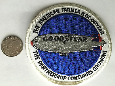 """Vintage*the American Farmer & Goodyear*the Partnership*embroidered Patch*4""""*nos"""