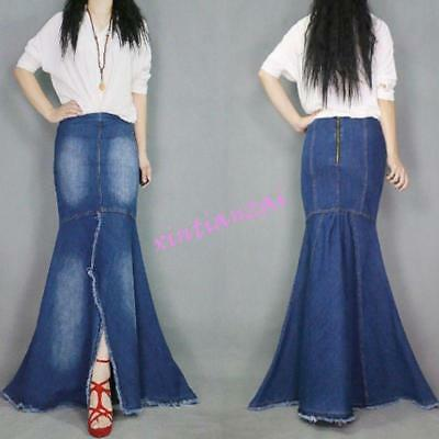 07bf09628e Fashion Womens Dress Washed Jeans Casual Denim Fish Tail Long Skirt Full  Length