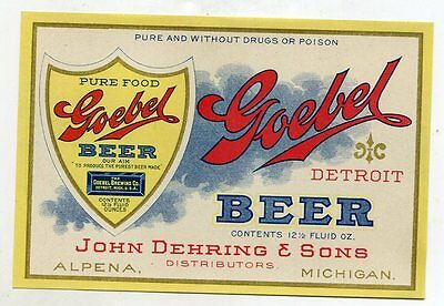 Pre Prohibition Goebel Beer Label -John Dehring-Alpena Michigan