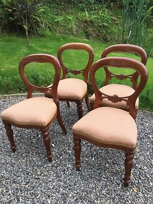 Baloon Back Dining Chairs Antique Style Set Of 4