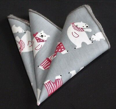 Hankie Pocket Square Cotton Handkerchief Grey Cute Polar CH285