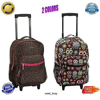 Girls School Bag Rolling Backpack Wheels Travel Children Bookbag Pink Leopard