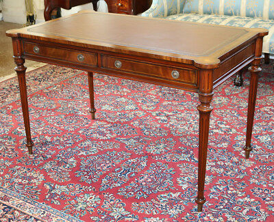 Superb English Flame Mahogany Gold Embossed Leather Writing Desk Table MINT