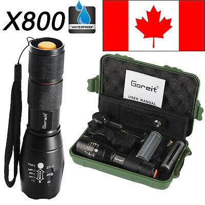 CA 6000LM ShadowHawk X800 Flashlight LED Zoomable Military Torch 18650 Battery