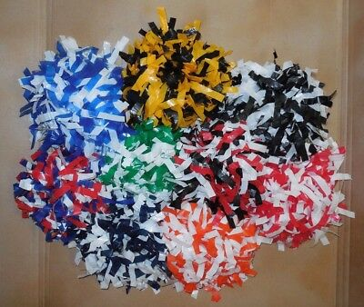 """NEW YOUTH POMS 6"""" LENGTH 1/2"""" Wide Strands 2 or 3  COLOR MIX Dowel Handle"""