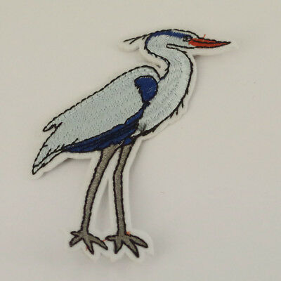 Crane Bird Blue patch Sew Iron on Patch Bags Jeans Clothes P54