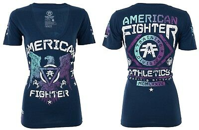 AMERICAN FIGHTER Womens T-Shirt CHICAGO Eagle NAVY Athletic Biker Gym UFC $40