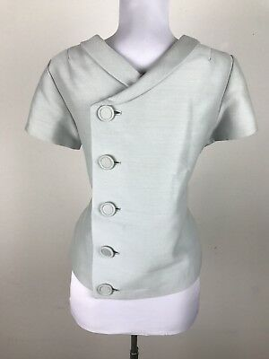 Vintage 1950s 60s Blouse Top Worsted Wool Silk Short Sleeve Size M Grayish Blue