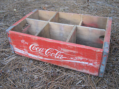 Vtg Wooden Coke Coca Cola Crate Wood Soda Pop w/ 6 Dividers, Wall Display Shelf
