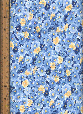 Blue and Yellow Flowers Cotton Calico Quilting Quilt Fabric one yard & 11 inches