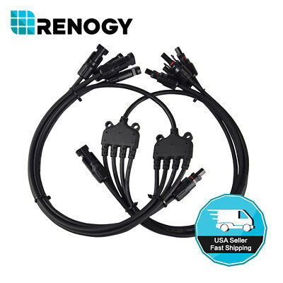 1 to 4 Renogy PV Solar Panel Y Branch Connectors MC4 Male Female Connector Pair