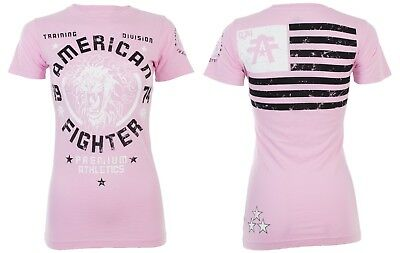 AMERICAN FIGHTER Womens T-Shirt COLUMBIA Athletic USA FLAG Biker UFC $40