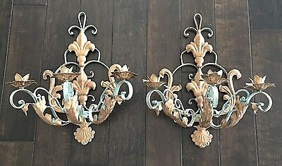 Pair Vintage French Tole Wrought Iron Metal Gilt/teal 3-Arm Wall Sconces *huge*