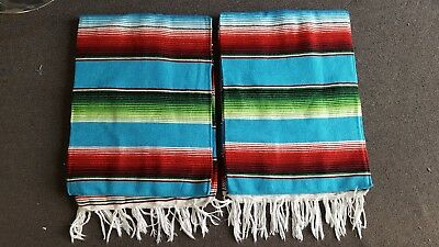 TWO PIECE SERAPE SET ,5' X 7',Mexican Blanket,HOT ROD, Covers, XXL ,  TURQUOISE
