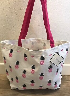 MACY'S white pink pineapple print tote bag purse shoulder beach shopper NEW