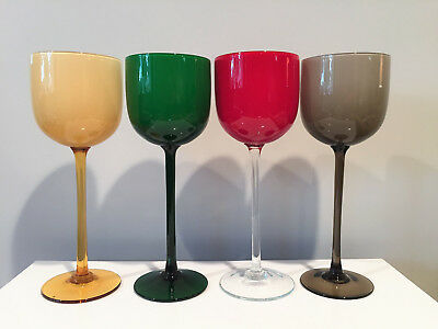 4 Vintage Carlo Moretti Empoli Murano Italy Tall Art Glass Stems Wine Glasses
