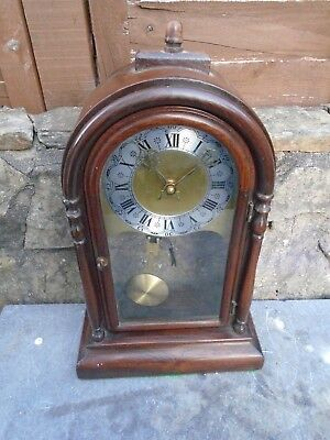 Antique?? Rosewood Clock  Case With Modern Movement And Face-Runs Well