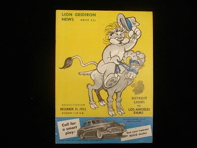 December 21, 1952 Los Angeles Rams @ Detroit Lions Playoff Program
