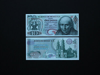 MEXICO BANKNOTES  EARLY 10 PESOS   p63   1975   OUTSTANDING  IMAGES    MINT UNC