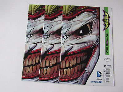 Lot of 3 Batman and Robin #15 Derath of the Family Joker Die Cut Cover DC Comic