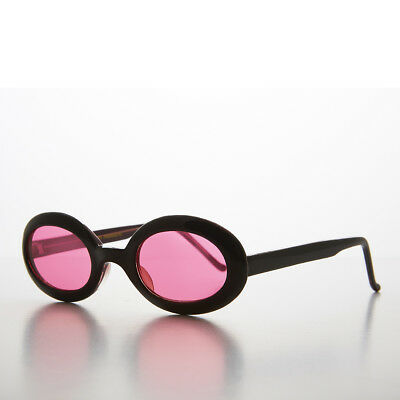 Small Oval 90s Sunglass Black Frames with Pink Colored Lenses - Gem 1