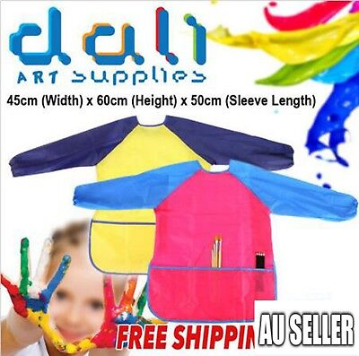 Girl Boy Art Smock Kid Waterproof Apron Long Sleeve Painting Craft Cooking