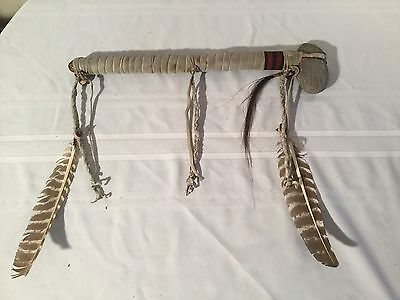 Weapon Swinging Stone Club Handmade Leather Wrapped Handle Feathers Braids