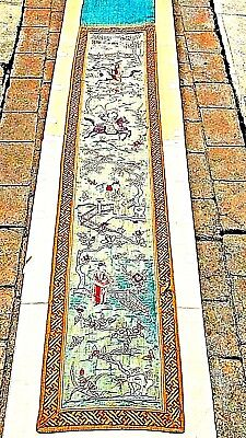 ANTIQUE17c-18c CHINESE GOLD STITCHES SILK EMBROIDERY PANEL W/ WARRIORS HORSEBACK