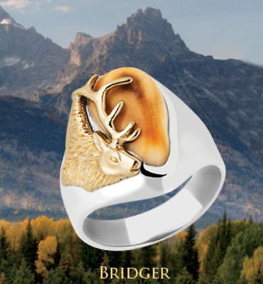 elk ivory mens ring .925 silver whl/hlf sz 7 8 9 10 11 12 13 Frontier Collection