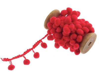 20mm Red Pom Pom Trim - 2m | Ribbons & Bows for Crafts