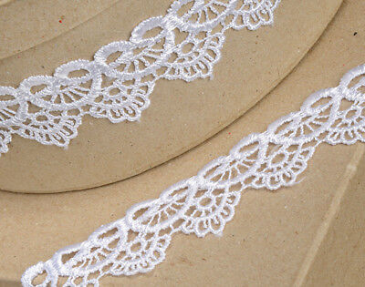 35mm White Scalloped Lace Border Ribbon for Craft - 4.5m
