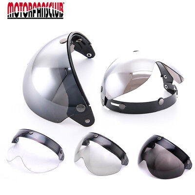 Windshield Visor Pilot-Style Motorcycle DOT Helmet 3 Snap Open Face Wind Shield
