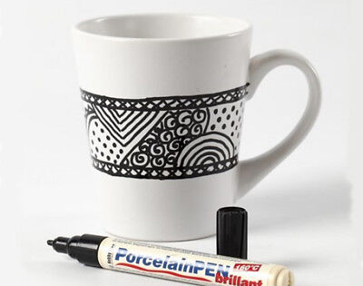 White Porcelain Mug & Black Pen Decorating Kit | Paints for Ceramics