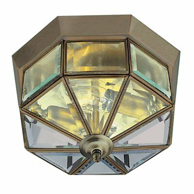 Traditional Flush Ceiling Light In Antique Brass With Bevelled Glass 8235AB